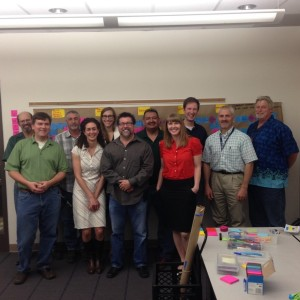 Pictured is the PWTM Bike Lane Implementation Process Team with their current state process map: Michael Koslow, Rachael Bronson, Dan Raine, Jeff Lancaster, Ron Smart, David Hermosillo, Kevin Olsen, Kurt Alge, Gerard Montoya & Brittany Price.