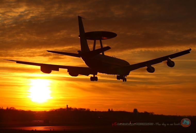 AWACS Landing into the Sunset