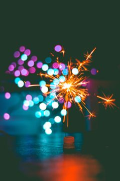 Blue, gold, and purple sparklers