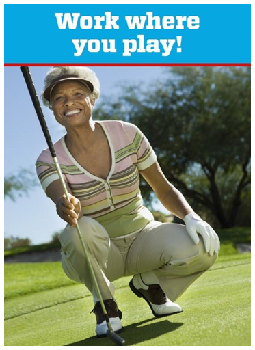 "Denver Golf marketing flyer recruiting players to ""Work where you play!"" for seasonal on-call positions with Denver Golf."