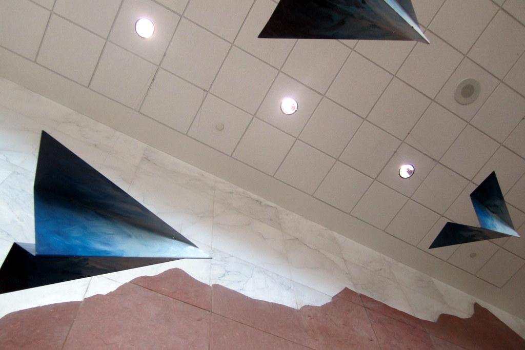 Paper airplane sculpture in ceiling of Denver International Airport